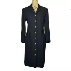 Vintage Liz Claiborne Button Front Black Dress